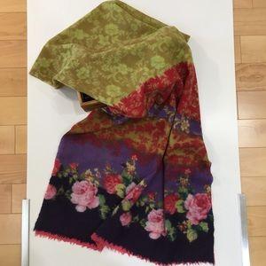 J. JILL Beautiful Wool Floral Oversized Scarf EUC